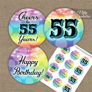 55th Birthday Cupcake Toppers - Rainbow LGBQ
