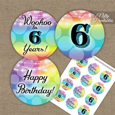 6th Birthday Cupcake Toppers - Rainbow
