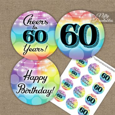 60th Birthday Cupcake Toppers - Rainbow LGBQ