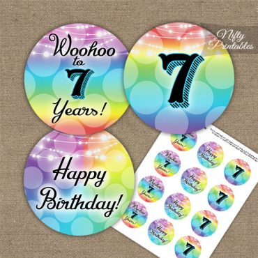 7th Birthday Cupcake Toppers - Rainbow