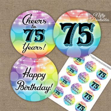 75th Birthday Cupcake Toppers - Rainbow LGBQ