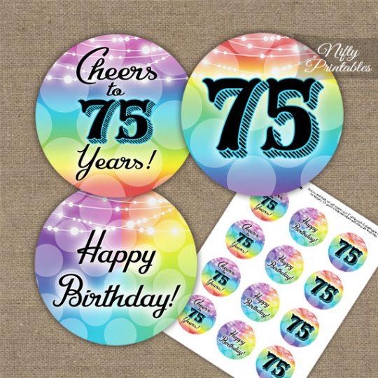 75th Birthday Cupcake Toppers - Rainbow LGBTQ
