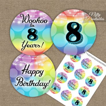8th Birthday Cupcake Toppers - Rainbow