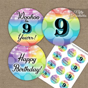 9th Birthday Cupcake Toppers - Rainbow