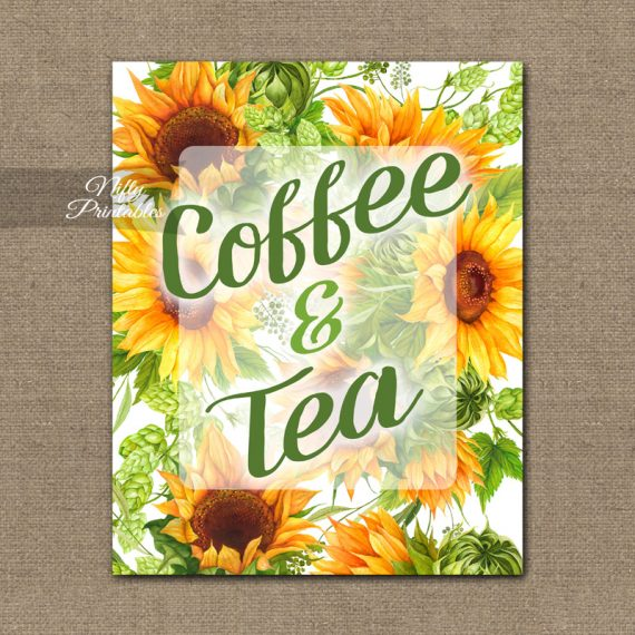 Coffee Tea Sign - Sunflowers