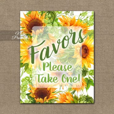 Favors Sign - Sunflowers