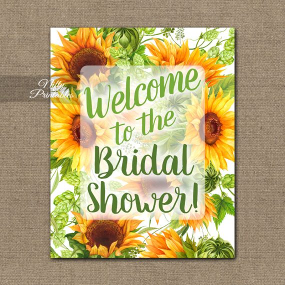 Bridal Shower Welcome Sign - Sunflowers