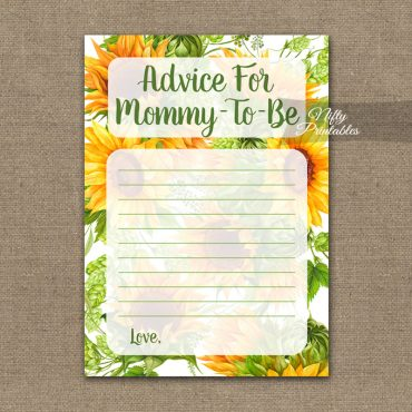 Advice For Mommy Baby Shower Game - Sunflowers