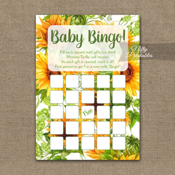 Baby Shower Bingo Game - Sunflowers