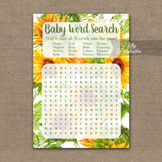 Baby Shower Word Search Game - Sunflowers