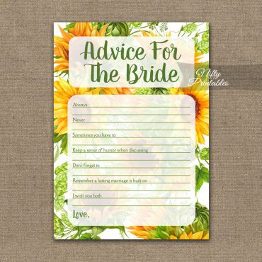 Bridal Shower Advice Cards - Sunflowers