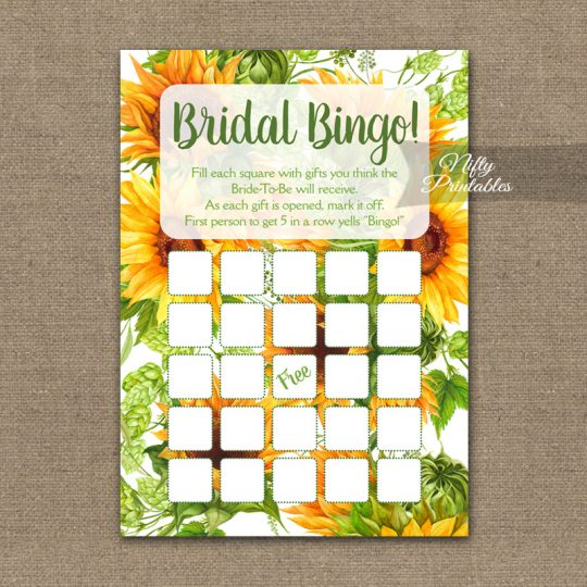 Bridal Shower Bingo Game - Sunflowers