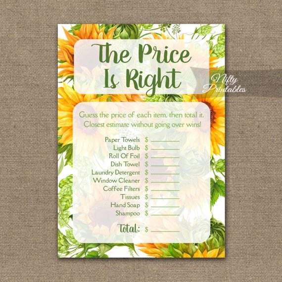 Price Is Right Bridal Shower Game - Sunflowers