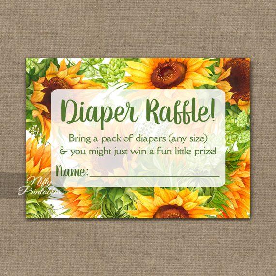Diaper Raffle Baby Shower - Sunflowers