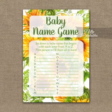 Name Game Baby Shower - Sunflowers
