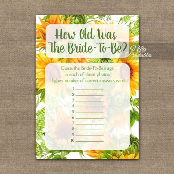 How Old Is The Bride Shower Game - Sunflowers