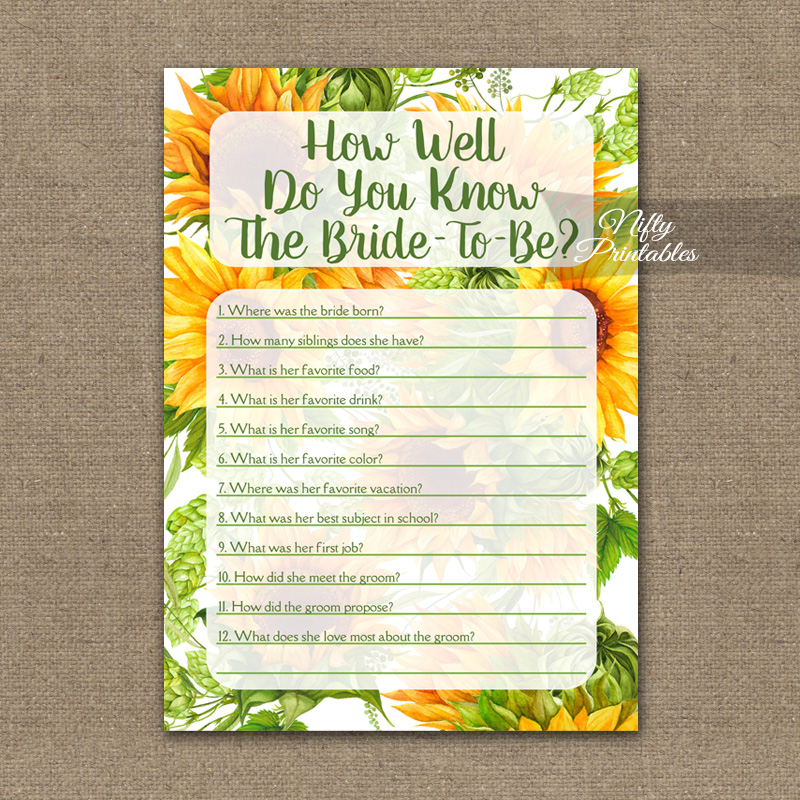 picture regarding How Well Do You Know the Bride Printable named How Perfectly Do On your own Notice The Bride - Sunflowers