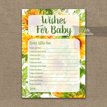 Wishes For Baby Shower Game - Sunflowers