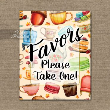 Favors Sign - Tea Party