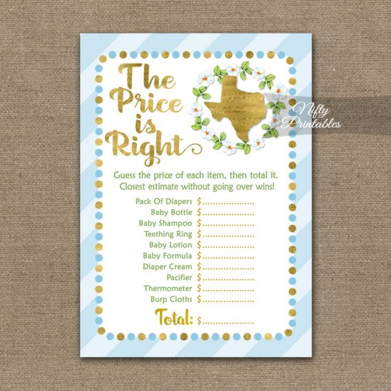 Price Is Right Baby Shower Game - Texas Blue Gold