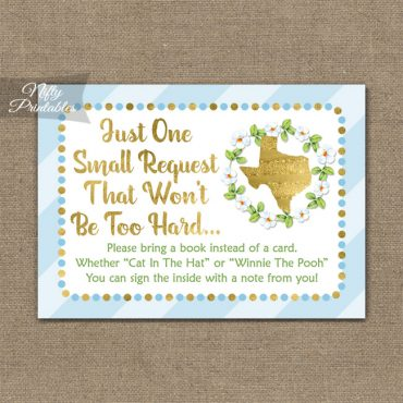 Bring A Book Baby Shower Insert - Texas Blue Gold