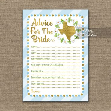 Bridal Shower Advice Cards - Texas Blue Gold