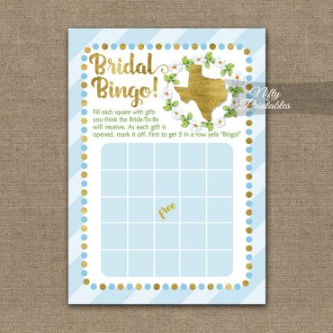 Bridal Shower Bingo Game - Texas Blue Gold