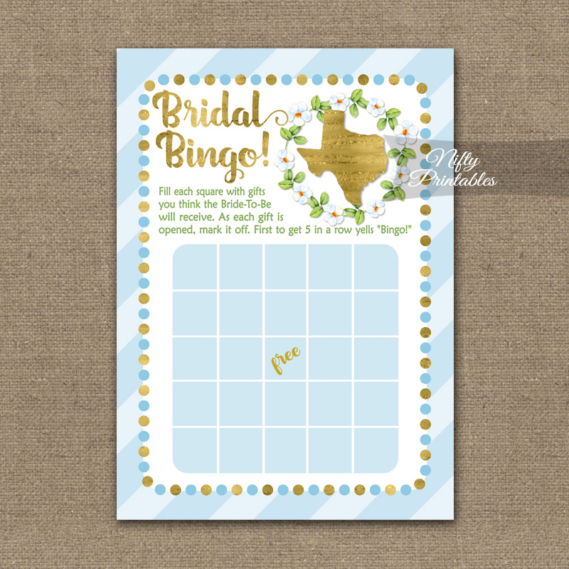 bridal shower bingo game texas blue gold