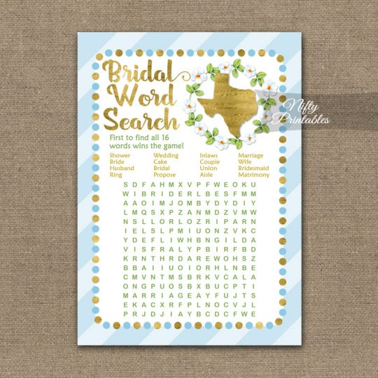 Bridal Shower Word Search Game - Texas Blue Gold