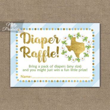 Diaper Raffle Baby Shower - Texas Blue Gold