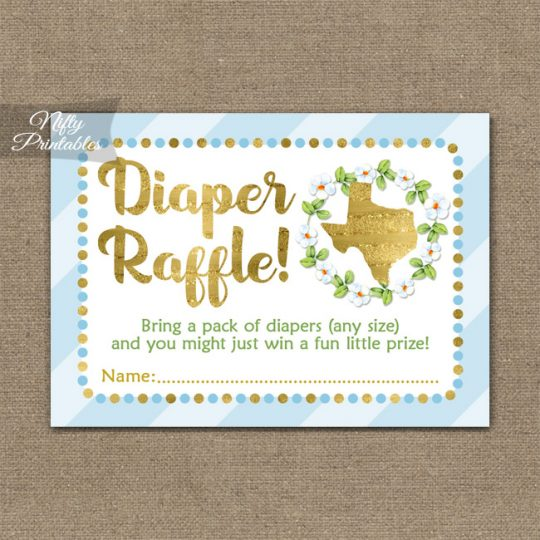 Diaper Raffle Baby Shower - Texas Blue Gold