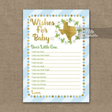 Wishes For Baby Shower Game - Texas Blue Gold