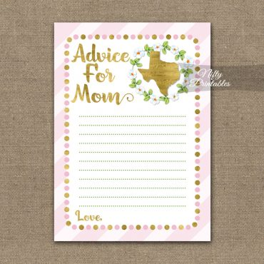Advice For Mommy Baby Shower Game - Texas Pink Gold