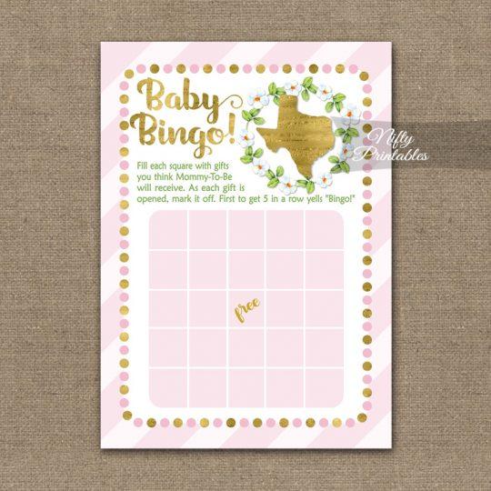 Baby Shower Bingo Game - Texas Pink Gold