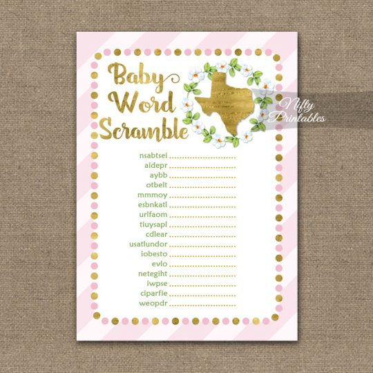 Baby Shower Word Scramble Game - Texas Pink Gold