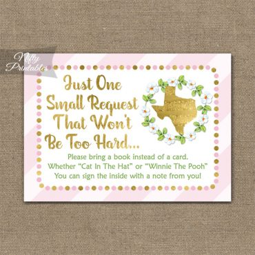 Bring A Book Baby Shower Insert - Texas Pink Gold