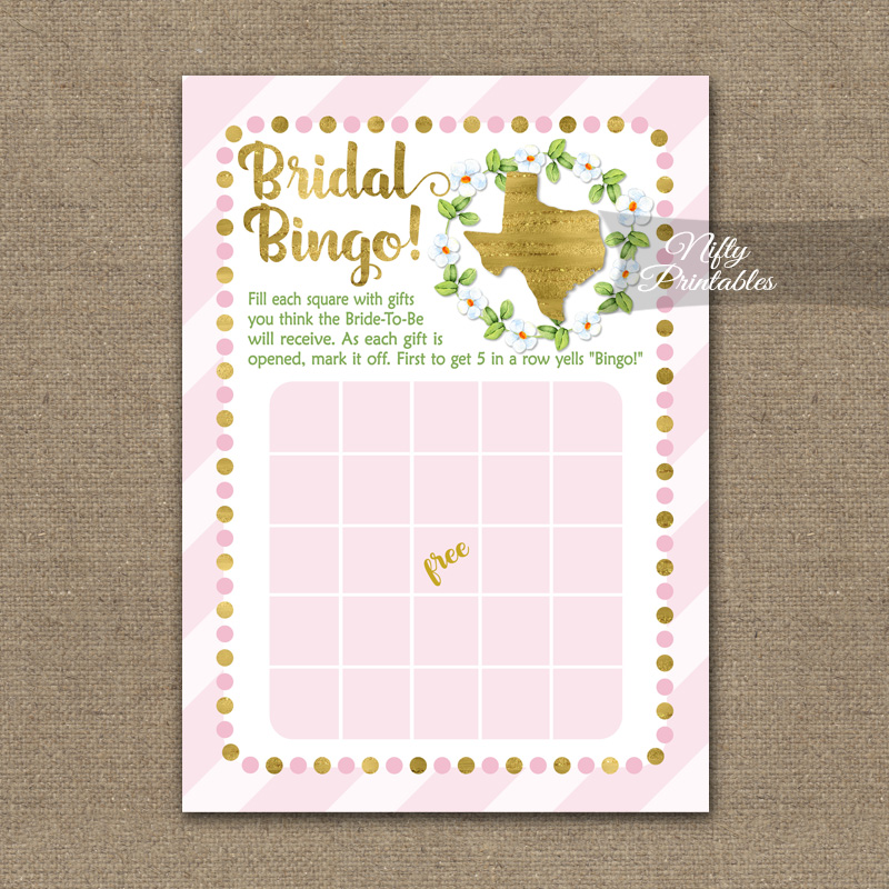 graphic about Printable Bridal Shower Bingo called Bridal Shower Bingo Recreation - Texas Red Gold
