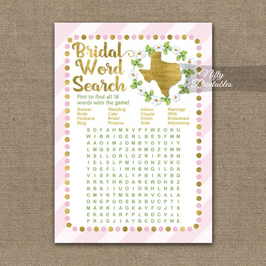 Bridal Shower Word Search Game - Texas Pink Gold