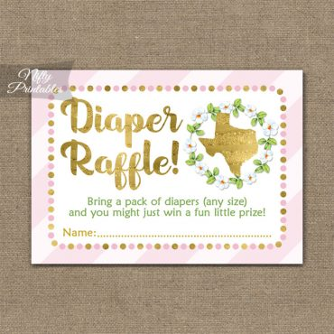 Diaper Raffle Baby Shower - Texas Pink Gold