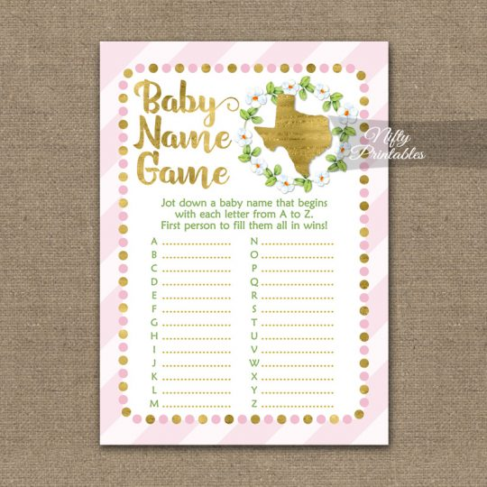 Name Game Baby Shower - Texas Pink Gold