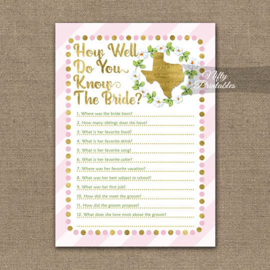 How Well Do You Know The Bride - Texas Pink Gold