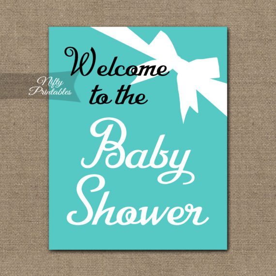 Baby Shower Welcome Sign - Tiffany Bow