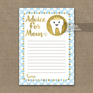 Advice For Mommy Baby Shower Game - Tooth Dental Blue Gold