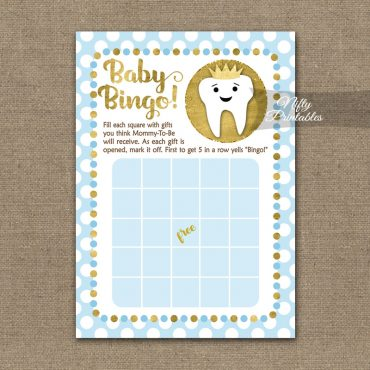 Baby Shower Bingo Game - Tooth Dental Blue Gold