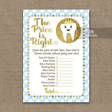Price Is Right Baby Shower Game - Tooth Dental Blue Gold