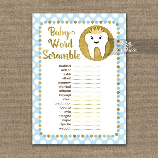 Baby Shower Word Scramble Game - Tooth Dental Blue Gold
