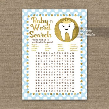 Baby Shower Word Search Game - Tooth Dental Blue Gold