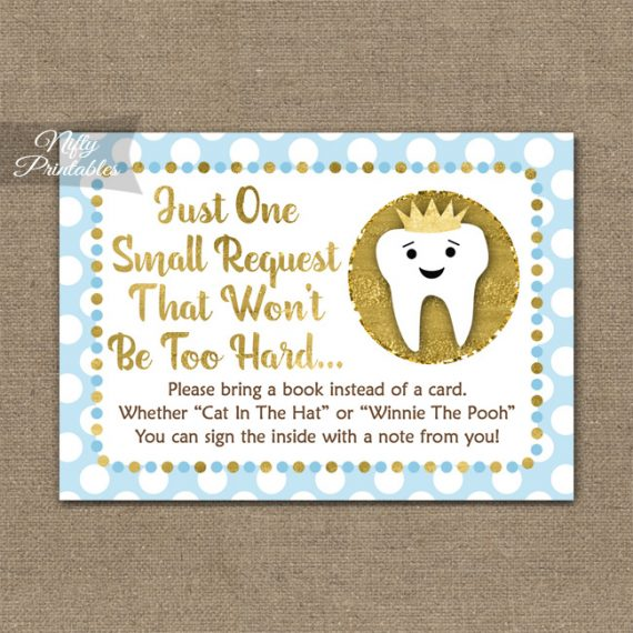 Bring A Book Baby Shower Insert - Tooth Dental Blue Gold