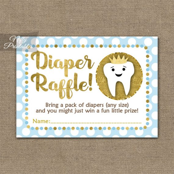 Diaper Raffle Baby Shower - Tooth Dental Blue Gold