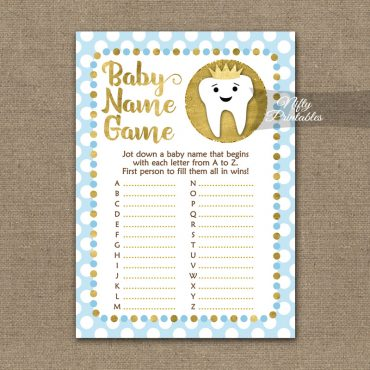 Name Game Baby Shower - Tooth Dental Blue Gold